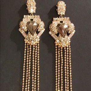 Alexis bittar long gold earrings